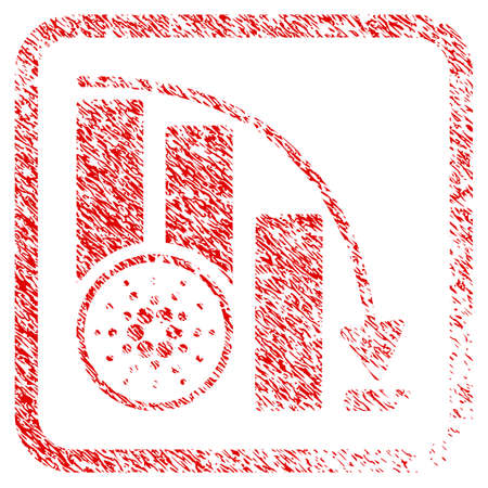 Cardano Fall Down Chart rubber seal stamp watermark. Icon vector symbol with grunge design and unclean texture inside rounded square frame. Scratched red sticker.