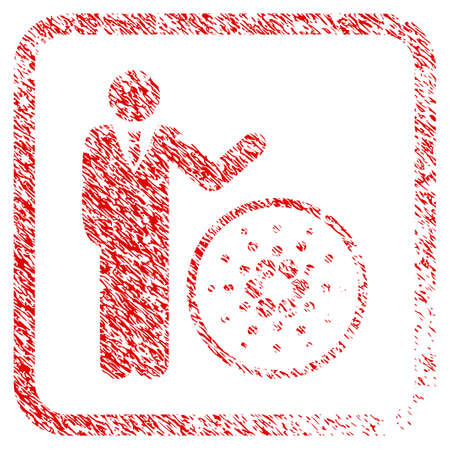Businessman Show Cardano rubber seal stamp watermark. Icon vector symbol with grunge design and unclean texture inside rounded square. Scratched red sign. Illustration