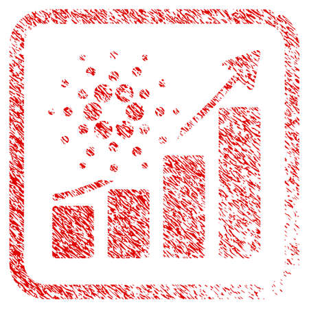 Cardano Success Chart rubber seal stamp imitation. Icon vector symbol with grunge design and unclean texture inside rounded squared frame. Scratched red emblem.