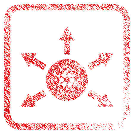Cardano Distribution Arrows rubber seal stamp imitation. Icon vector symbol with grunge design and dust texture inside rounded square frame. Scratched red stamp imitation.