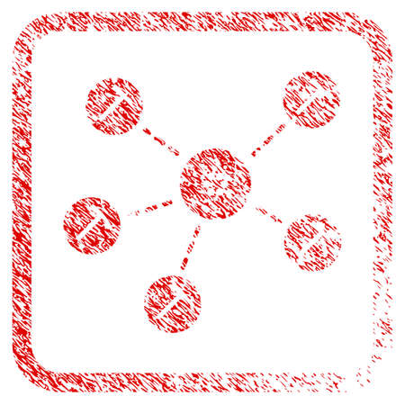 Cardano Mining Network rubber seal stamp imitation. Icon vector symbol with grunge design and corrosion texture inside rounded rectangle. Scratched red sign.