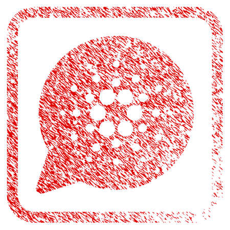 Cardano Message Cloud rubber seal stamp imitation. Icon vector symbol with grunge design and unclean texture inside rounded square. Scratched red emblem.