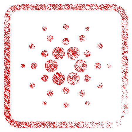 Cardano rubber seal stamp imitation. Icon vector symbol with grunge design and dirty texture in rounded frame. Scratched red stamp imitation.