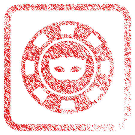 Anonymous Casino Chip rubber seal stamp imitation. Icon vector symbol with grunge design and dust texture inside rounded squared frame. Scratched red emblem.