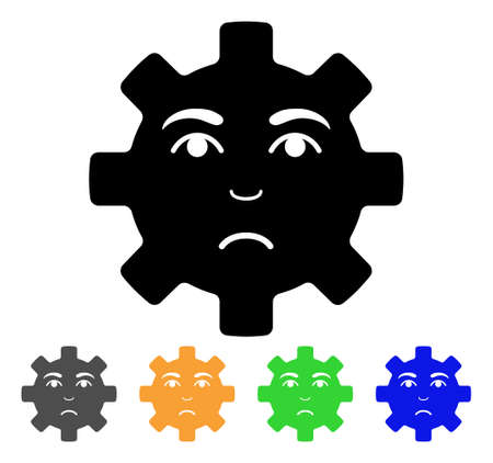 Sad Service Gear Smiley icon. Vector illustration style is a flat iconic sad service gear smiley black symbol with grey, yellow, green, blue color versions. Designed for web and software interfaces.