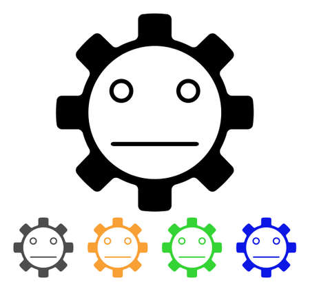 Gear Neutral Smiley icon. Vector illustration style is a flat iconic gear neutral smiley black symbol with grey, yellow, green, blue color versions. Designed for web and software interfaces.