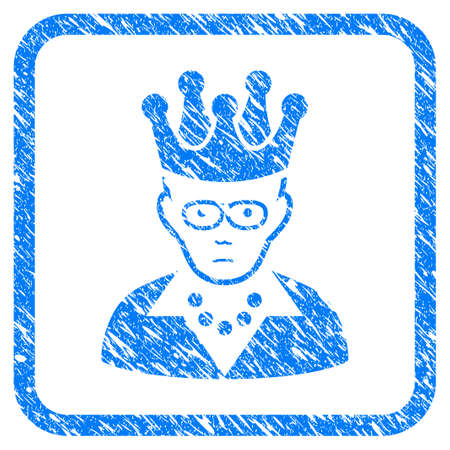 King rubber seal stamp imitation. Icon vector symbol with grunge design and corrosion texture inside rounded squared frame. Scratched blue emblem on a white background.