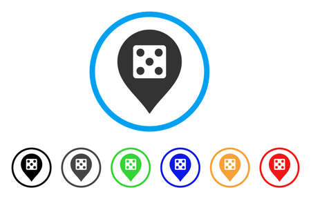 Dice Casino Marker icon. Vector illustration style is a flat iconic dice casino marker black symbol with gray, yellow, green, blue color variants. Designed for web and software interfaces.