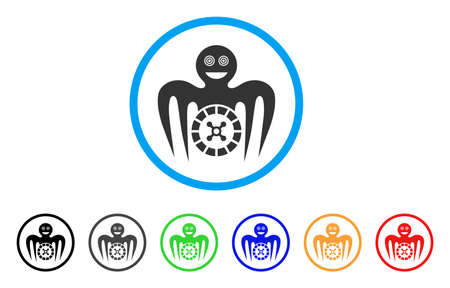 Roulette Mad Monster icon. Vector illustration style is a flat iconic roulette mad monster black symbol with gray, yellow, green, blue color variants. Designed for web and software interfaces.