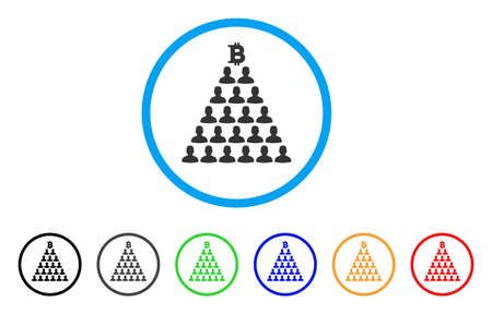 Bitcoin Ponzi Pyramid icon. Vector illustration style is a flat iconic bitcoin ponzi pyramid black symbol with gray, yellow, green, blue color variants. Designed for web and software interfaces.