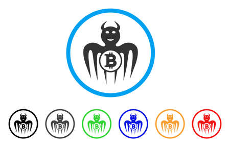 Bitcoin Happy Spectre Devil icon. Vector illustration style is a flat iconic bitcoin happy spectre devil black symbol with gray, yellow, green, blue color variants.