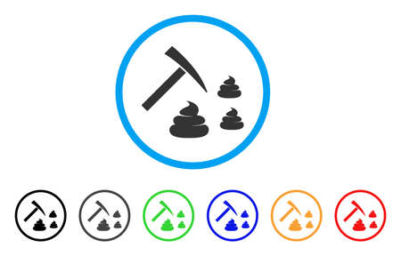 Shit Mining icon. Vector illustration style is a flat iconic shit mining black symbol with gray, yellow, green, blue color variants. Designed for web and software interfaces.