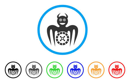 Roulette Mad Spectre Devil icon. Vector illustration style is a flat iconic roulette mad spectre devil black symbol with grey, yellow, green, blue color versions.