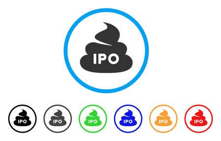 IPO Shit icon. Vector illustration style is a flat iconic IPO shit black symbol with gray, yellow, green, blue color variants. Designed for web and software interfaces.