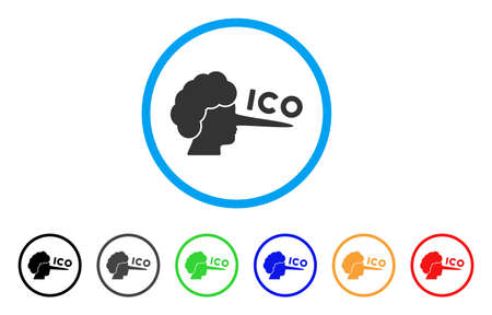 ICO Lier icon. Vector illustration style is a flat iconic ICO lier black symbol with gray, yellow, green, blue color versions. Designed for web and software interfaces.