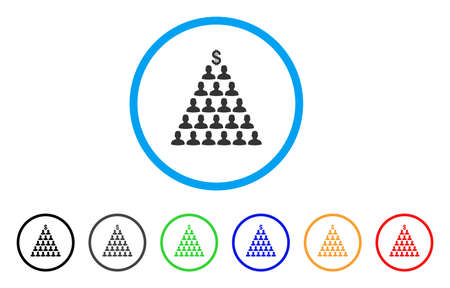 Ponzi Pyramid Scheme icon. Vector illustration style is a flat iconic ponzi pyramid scheme black symbol with gray, yellow, green, blue color variants. Designed for web and software interfaces. Illustration