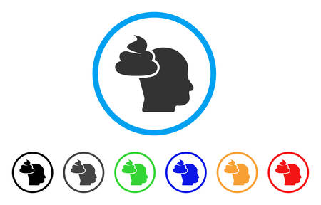 Shit Thinking Head icon. Vector illustration style is a flat iconic shit thinking head black symbol with grey, yellow, green, blue color versions. Designed for web and software interfaces. Illustration