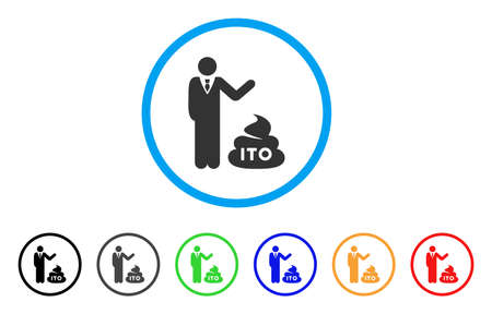 Businessman Show ITO Shit icon. Vector illustration style is a flat iconic businessman show ITO shit black symbol with grey, yellow, green, blue color variants.