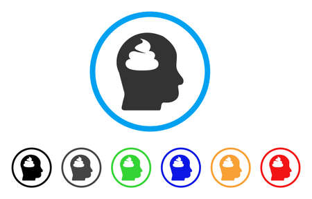 Poo Brain icon. Vector illustration style is a flat iconic shit brain black symbol with gray, yellow, green, blue color versions. Designed for web and software interfaces.