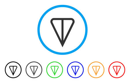 Ton Currency rounded icon. Style is a flat gray symbol inside light blue circle with additional color variants. Ton Currency vector designed for web and software interfaces. Çizim