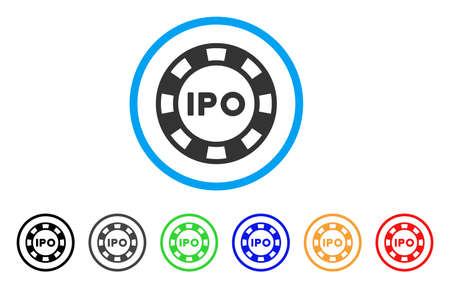 IPO Token icon. Vector illustration style is a flat iconic ipo token black symbol with gray, yellow, green, blue color versions. Designed for web and software interfaces.