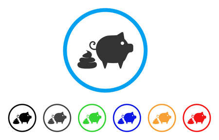 Pig Shit icon. Vector illustration style is a flat iconic pig shit black symbol with grey, yellow, green, blue color variants. Designed for web and software interfaces.