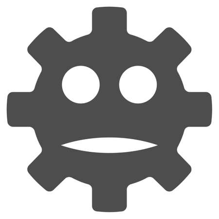 Gear Sad Smiley vector icon. Style is flat graphic grey symbol. Ilustração