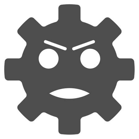 Gear Angry Smiley vector icon. Style is flat graphic gray symbol.