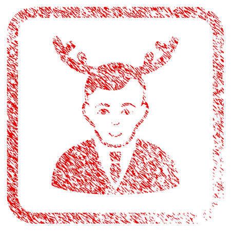 Horned Husband rubber seal stamp imitation. Icon raster symbol with textured design and corrosion texture inside rounded square. Scratched red emblem. Dude face has positive expression. Stock Photo