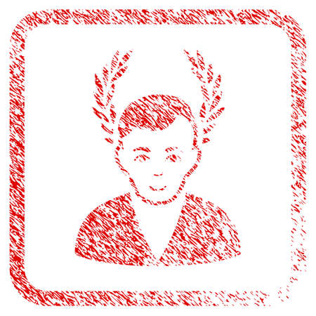 Man Glory rubber seal watermark. Icon raster symbol with textured design and unclean texture inside rounded frame. Scratched red stamp imitation. Dude face has positive emotion.