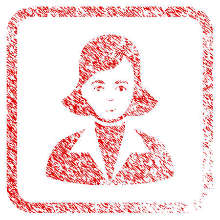 Lady rubber seal stamp watermark. Icon raster symbol with textured design and dust texture inside rounded square. Scratched red sticker. Man face has smiling emotions. Stock Photo