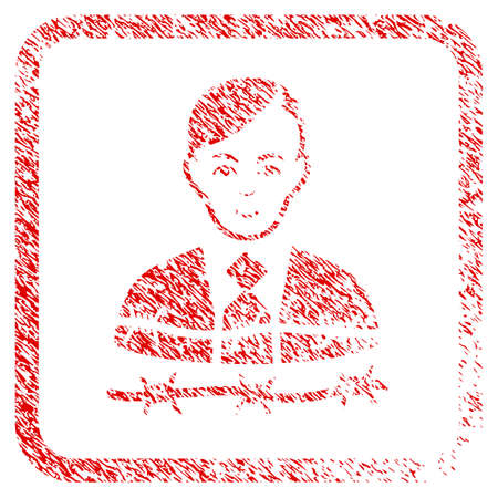 Businessman Arrest rubber seal stamp imitation. Icon raster symbol with grungy design and unclean texture in rounded squared frame. Scratched red stamp imitation. Guy face has joyful feeling.