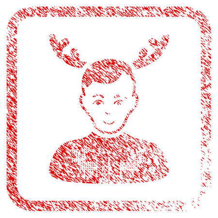 Deers Pullover Horned Husband rubber stamp imitation. Icon raster symbol with textured design and dust texture inside rounded frame. Scratched red sign. Man face has glad feeling.