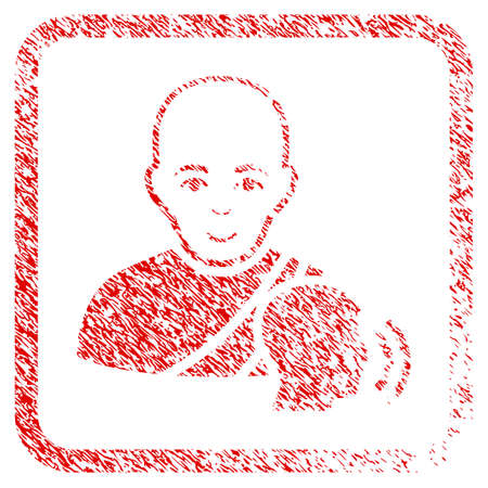 Buddhist Confession rubber stamp imitation. Icon raster symbol with scratched design and dust texture inside rounded rectangle. Scratched red sticker. Boy face has positive mood.