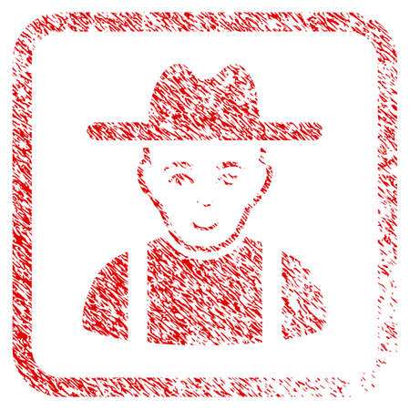 Farmer Guy rubber seal stamp watermark. Icon raster symbol with textured design and unclean texture inside rounded rectangle. Scratched red emblem. Dude face has joy emotion. Stock Photo