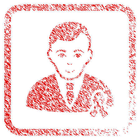 Gentleman With Mourning Ribbon rubber seal stamp watermark. Icon raster symbol with textured design and corrosion texture inside rounded squared frame. Scratched red stamp imitation.
