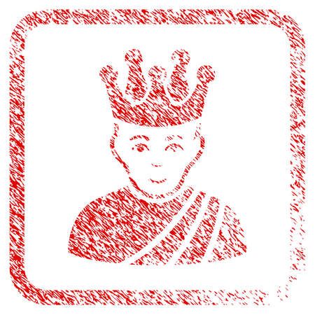 Emperor rubber seal stamp watermark. Icon raster symbol with unclean design and unclean texture inside rounded squared frame. Scratched red sticker. Boy face has cheerful emotion.