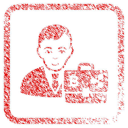 Cryptocurrency Accounter rubber stamp watermark. Icon raster symbol with unclean design and corrosion texture inside rounded squared frame. Scratched red sticker. Man face has gladness feeling.