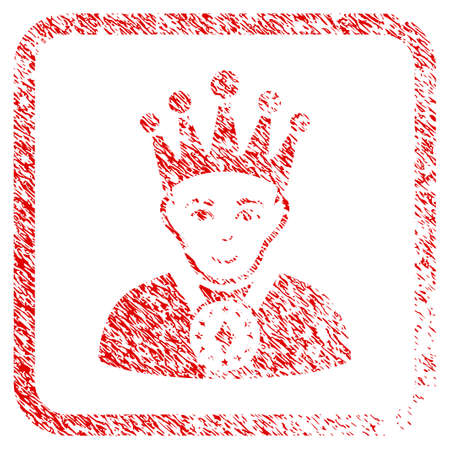 King rubber stamp watermark. Icon raster symbol with unclean design and dust texture inside rounded squared frame. Scratched red emblem. Guy face has enjoy emotion. a person from king with glad face. Stock Photo