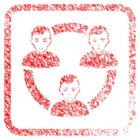 Connected Social Members rubber seal stamp watermark. Icon raster symbol with textured design and dirty texture inside rounded rectangle. Scratched red sign. Person face has positive sentiment. Stock Photo