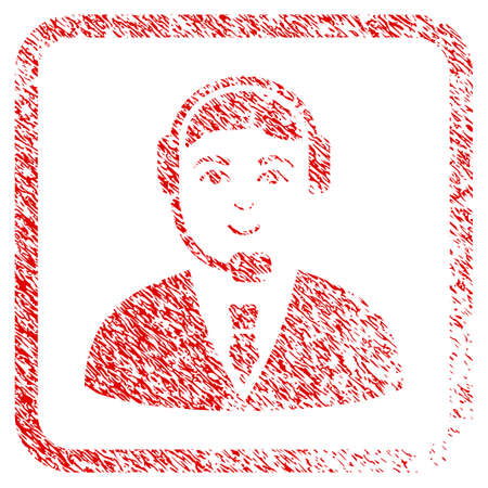 Call Center Operator rubber stamp imitation. Icon raster symbol with unclean design and corrosion texture in rounded rectangle. Scratched red emblem. Guy face has cheerful mood. Stock Photo
