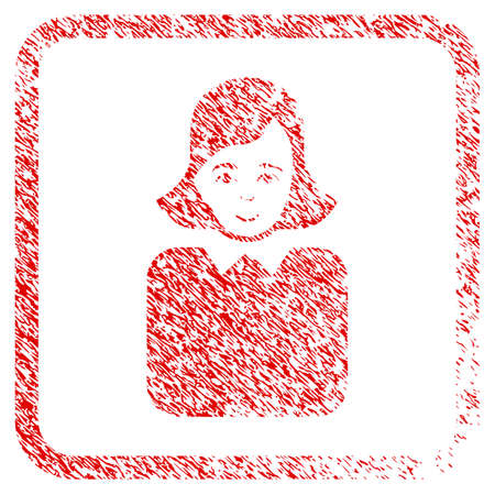 Bureaucrat Woman rubber seal imitation. Icon raster symbol with scratched design and dust texture inside rounded frame. Scratched red sticker. Person face has enjoy expression.