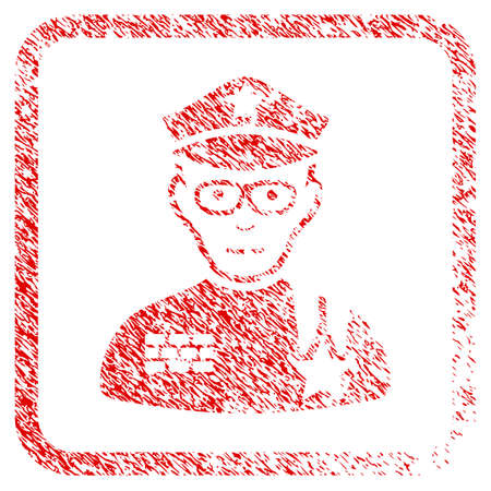 Army General rubber seal stamp watermark. Icon raster symbol with grunge design and corrosion texture in rounded frame. Scratched red emblem. Male face has smiling mood.