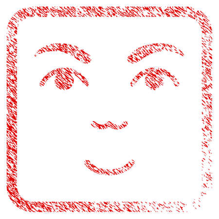 Face rubber seal stamp watermark. Icon raster symbol with distress design and unclean texture inside rounded square frame. Scratched red sticker. Dude face has happy emotion. Stock Photo