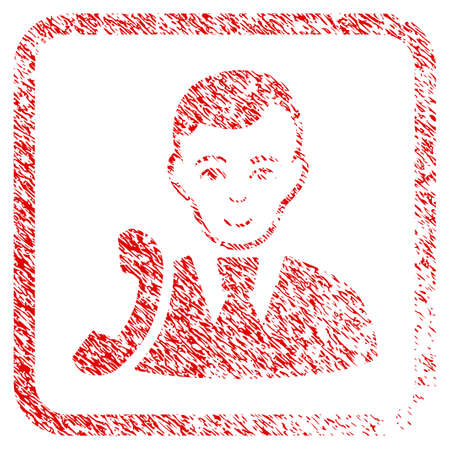 Call Manager rubber seal watermark. Icon raster symbol with distress design and unclean texture inside rounded square frame. Scratched red stamp imitation. Dude face has happy expression. Stock Photo