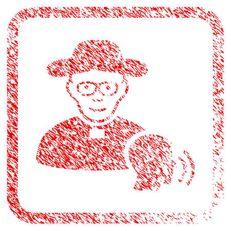 Believer Confession rubber seal stamp imitation. Icon raster symbol with distress design and corrosion texture in rounded square frame. Scratched red sticker. Person face has enjoy feeling.