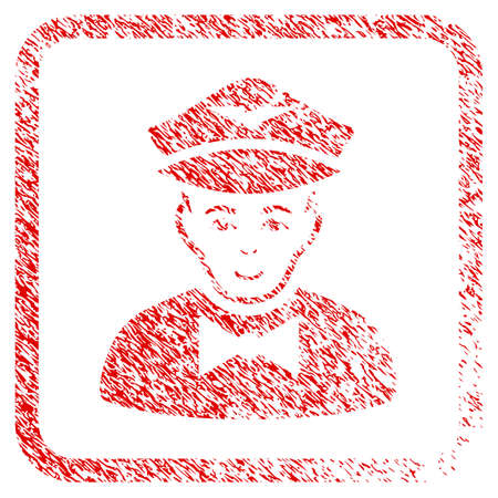 Airline Steward rubber seal watermark. Icon raster symbol with textured design and unclean texture inside rounded rectangle. Scratched red emblem. Male face has glad mood. Stock Photo