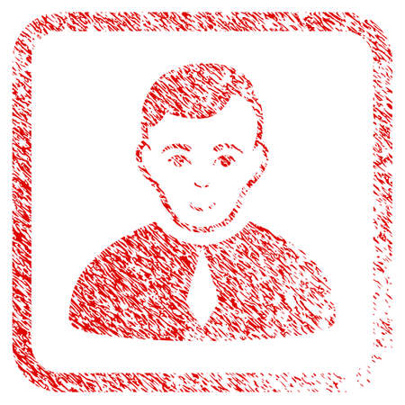 Lawyer rubber seal watermark. Icon raster symbol with grunge design and dust texture in rounded frame. Scratched red sticker. Boy face has enjoy feeling. a person from lawyer with enjoy face. Stock Photo