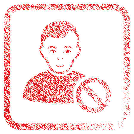 Forbidden User rubber stamp imitation. Icon raster symbol with scratched design and dirty texture inside rounded square frame. Scratched red sticker. Male face has glad expression.