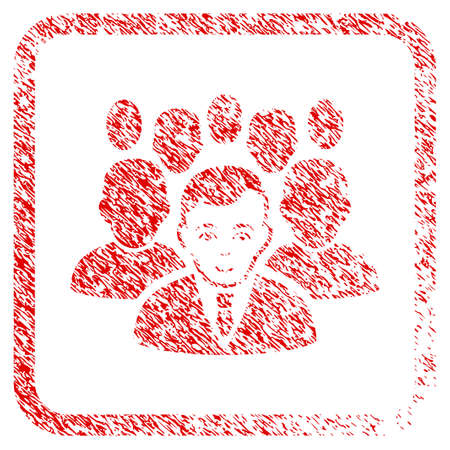 Crowd rubber seal watermark. Icon raster symbol with textured design and corrosion texture inside rounded square frame. Scratched red sticker. Boy face has glad mood. a guy from crowd with enjoy face.